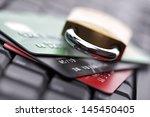 computer internet credit card... | Shutterstock . vector #145450405