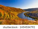 Autumn landscape of the Moselle river valley in Germany, Europe