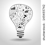 light bulb with drawing icons... | Shutterstock .eps vector #145455742
