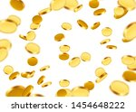 realistic gold coins explosion. ... | Shutterstock .eps vector #1454648222