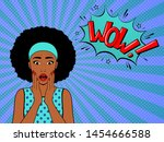 surprised woman with afro hair .... | Shutterstock .eps vector #1454666588