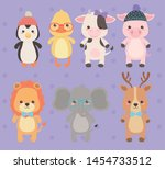 cute and little animals... | Shutterstock .eps vector #1454733512