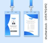id card with lanyard set... | Shutterstock .eps vector #1454792492
