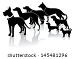 crowd of dogs silhouette. eps... | Shutterstock .eps vector #145481296