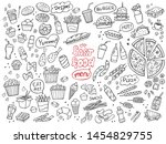 set of fast food doodles on... | Shutterstock .eps vector #1454829755