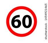 traffic sign speed limit 60. 60 ...   Shutterstock .eps vector #1454921465
