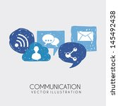 communication icons over white... | Shutterstock .eps vector #145492438