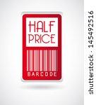 half price label over gray... | Shutterstock .eps vector #145492516