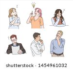 various people have a curious... | Shutterstock .eps vector #1454961032