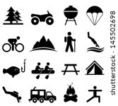 recreation and camping icon set | Shutterstock .eps vector #145502698