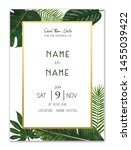 tropical wedding card save the...   Shutterstock . vector #1455039422