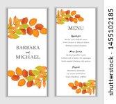 autumn floral wedding menu card ... | Shutterstock .eps vector #1455102185
