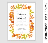 autumn leaf wedding invitation... | Shutterstock .eps vector #1455114698