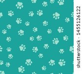 green paw print icon isolated...   Shutterstock .eps vector #1455126122