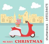 merry christmas red vespa carry ... | Shutterstock .eps vector #1455154475