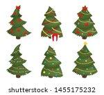 christmas trees set isolated on ... | Shutterstock .eps vector #1455175232
