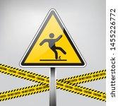 wet floor sign. caution sign.... | Shutterstock .eps vector #1455226772