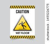 wet floor sign. caution sign.... | Shutterstock .eps vector #1455226775