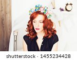 beautiful red haired girl in a... | Shutterstock . vector #1455234428