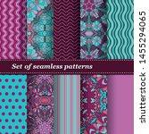 set of trendy seamless floral... | Shutterstock .eps vector #1455294065