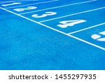 Blue Running Track. Lanes Of A...
