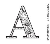 vector graphic floral alphabet  ... | Shutterstock .eps vector #1455306302