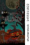 halloween background pumpkin in ...   Shutterstock . vector #1455311822