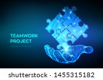 teamwork. puzzle elements in... | Shutterstock .eps vector #1455315182