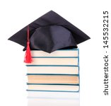 grad hat with books isolated on ... | Shutterstock . vector #145532215