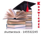 grad hat with books isolated on ... | Shutterstock . vector #145532245