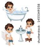 cute cartoon kids in a bathroom ... | Shutterstock .eps vector #1455349358