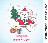 new year and christmas greeting ... | Shutterstock .eps vector #1455349565