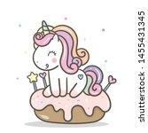 cute unicorn vector cake for... | Shutterstock .eps vector #1455431345