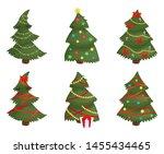 christmas trees set isolated on ... | Shutterstock .eps vector #1455434465
