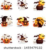 collection of halloween designs ... | Shutterstock .eps vector #1455479132