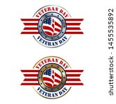 us veteran day badge silver and ... | Shutterstock .eps vector #1455535892