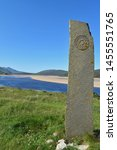 celtic standing stone at kyle... | Shutterstock . vector #1455551765