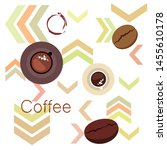 coffee cup  coffee grains ... | Shutterstock .eps vector #1455610178