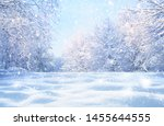 Stock photo winter christmas idyllic landscape white trees in forest covered with snow snowdrifts and 1455644555