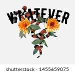 whatever slogan with king snake and sunflowers illustration