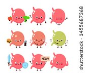 cute stomach set. healthy and... | Shutterstock .eps vector #1455687368