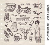 hand drawn hipster set | Shutterstock .eps vector #145568806