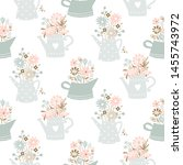 flowers in watering can vintage ... | Shutterstock .eps vector #1455743972