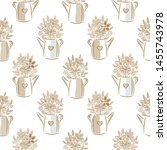 flowers in watering cans beige... | Shutterstock .eps vector #1455743978