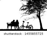 silhouette vintage bike and... | Shutterstock . vector #1455855725