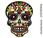 sugar skull   mexico   dia de... | Shutterstock . vector #145590946
