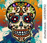 sugar skull   mexico   dia de...   Shutterstock . vector #145590952