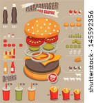 hamburger   fast food info... | Shutterstock .eps vector #145592356