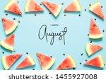 inscription happy august. fresh ...   Shutterstock . vector #1455927008