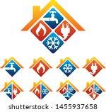 plumbing heating cooling...   Shutterstock .eps vector #1455937658